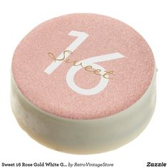 Shop Sweet 16 Rose Gold White Golden Script Birthday Chocolate Covered Oreo created by RetroVintageStore. 18th Birthday Cake For Girls, Sweet 16 Birthday Cake, Gold Birthday Cake, Golden Birthday, 17th Birthday, Birthday Gifts For Her, Birthday Fun, Birthday Ideas, Birthday Parties