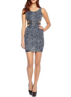 Rainbow Sleeveless Acid Wash Denim Dress With Side Cutouts