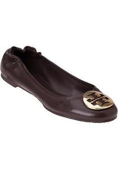 Tory Burch - Reva Brown Leather Ballet Flat- Christmas people!!!