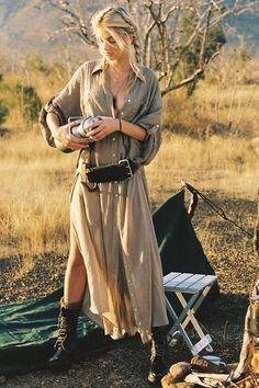 Linda Shirt Dress - Khaki