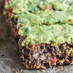 Meatless Black Bean 'Meatloaf' with Avocado Verde Spread. vegan, gf, healthy.