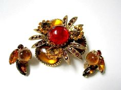 Vintage Jewelry Set Red Gold Rhinestone Brooch by SoBejeweled