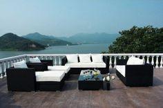 Outflexx Gartenmöbel Polyrattan Lounge Gruppe 8-tlg schwarz 1716