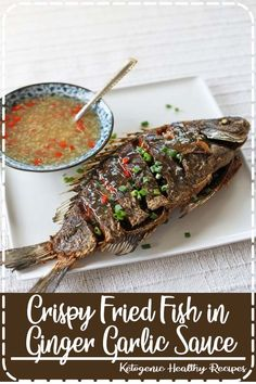 Crispy Fried Fish in Ginger Garlic Sauce Easy Healthy Recipes, Vegan Recipes, Delicious Recipes, Best Cake Recipes, Favorite Recipes, Detox Chicken Soup, Popular Recipes, Popular Food, Good Food