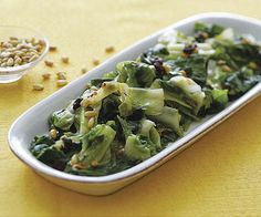 Sautéed Escarole with Raisins, Pine Nuts, and Capers recipe