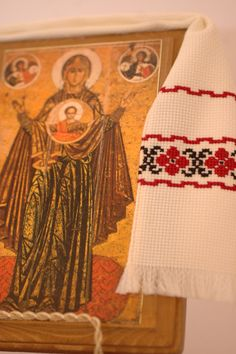 Handmade Ukrainian Icon with embroidered towel от Nytka на Etsy 20 долл.