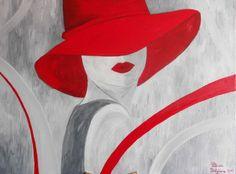 "Tablou ""Doamna cu palarie rosie"" - PatriciaShop | Crafty Crafty, Disney Princess, Abstract, Artwork, Paintings, Work Of Art, Paint, Painting Art, Draw"