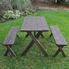 Riverhead Pine Cross-leg Picnic Table with 2 Benches