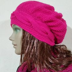 Pink Knitted Hat Fuchsia Cable Knit Hat Women's Hat #womenshat #knitting #hats