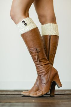 Ivory+Knitted+Boot+Cuffs+with+Buttons++Boots+by+ThreeBirdNest,+$28.00