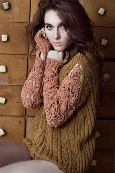 Wool & Knitwear at DaWanda Hand-knitted sweater with braids in the front. Crochet sleeves with flowered pattern. 100% cotton fibers, so it's soft, warm and it doesn't scratch like wool. Lets the skin breath. Real treasure in...