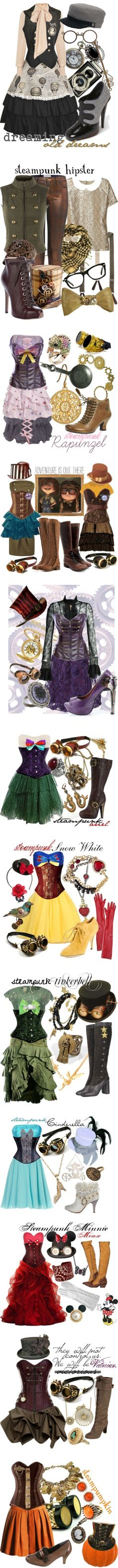 """Steampunk"" by princesschandler ❤ liked on Polyvore - not sure if id ever wear any of this but i love the idea, and steampunk disney princesses? ! Hell yeah!"