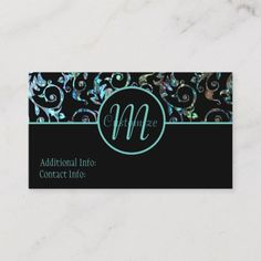 Shop Monogram Turquoise & Black Pearl Floral Card created by BlueRose_Design. Business Card Design, Business Cards, Floral Card, Things To Come, Monogram, Turquoise, Pearls, Prints, How To Make