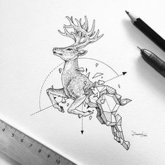 Tattoo •  Drawing • Deer by Kerby Rosanes •