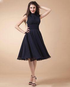Chiffon Pleated High Neck Knee Length Dress
