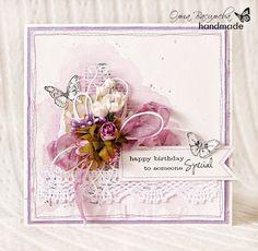 Scrap story ...: Сиреневая открытка с бабочками для МБ