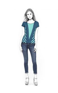 Blusa  - Patrón de costura #4511 Patrón de costura a medida de Lekala con descarga online gratuita. Entallado, Almazuelas, Cuello redondo, Sin cuello, Mangas cortas, Mangas de una sola pieza
