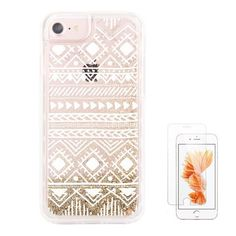 """uCOLOR Gold Glitter Aztec Ethnic Waterfall Clear Protective Case for iPhone 7/6S/6(4.7"""")"""