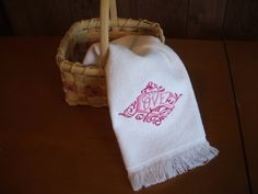 Pink Love embroidered towel by MillineryMary on Etsy