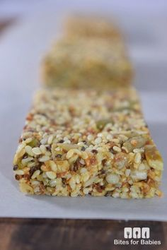 These chewy sesame seed bars are packed with superfoods, raw nuts, and natural, organic sweeteners. They are a mix of salty and sweet all in one bite! Healthy Bars, Healthy Sweets, Healthy Dessert Recipes, Vegan Desserts, Raw Food Recipes, Healthy Snacks, Snack Recipes, Cooking Recipes, Hemp Seed Recipes