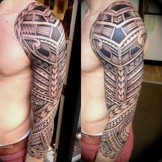 Blackwork Maori tattoo sleeve