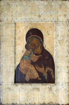 The Virgin of Vladimir - Andrei Rublev - tempera, Byzantine, 1400 Byzantine Icons, Byzantine Art, Russian Icons, Russian Art, Religious Icons, Religious Art, Chef D Oeuvre, Oeuvre D'art, Madonna
