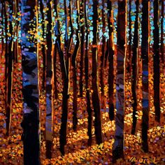 Twilight Time Among Aspens, by Michael O'Toole Fantasy Landscape, Abstract Landscape, Landscape Paintings, Abstract Art, Canadian Painters, Canadian Artists, Mosaic Tile Art, Tree Art, Art Techniques