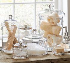 Bathroom organization. Apothecary jars.