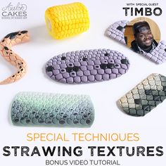 Learn how to make elaborate realistic texture for multiple applications using Timbo's signature strawing technique. Fondant Flower Cake, Fondant Cakes, Fondant Bow, 3d Cakes, Fondant Figures, Cake Decorating Techniques, Cake Decorating Tutorials, Decorating Ideas, Craft Ideas