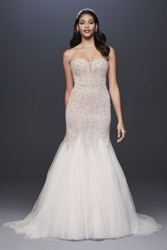 dbcd455e6ccf Floral Beaded Lace and Tulle Mermaid Wedding Dress Style WG3964, Ivory, 14