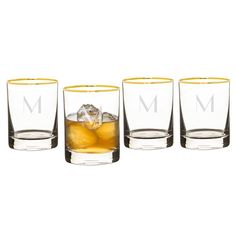 Serve your whiskey the right way with the Personalized Gold Rim Whiskey Glasses. This whiskey glass set features a contemporary silhouette, sophisticated Whiskey Glasses, Thing 1, Old Fashioned Glass, Wine Glass Set, Clear Glass, Highball Glass, Drinking Glass, Gold, Special Occasion