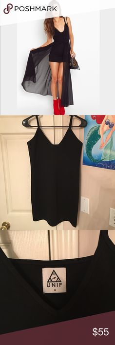UNIF forget it dress Includes two pieces: stretchy bodycon mini dress and sheer maxi chiffon overlay. Reposhing this, I love it but just a little too big for me, I wish it was a small. Never worn by me but previous posher wore once. Like new condition! UNIF Dresses High Low