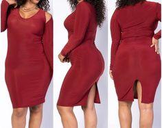 New Plus Size Burgundy Cut Out Shoulder Bodycon Dress Size 3X #FabulouslyDressedBoutique #StretchBodycon #Clubwear