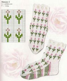 Blooming Lavender socks pattern by Stone Knits - Baby Sweater Knitting Pattern, Mittens Pattern, Knitting Charts, Knit Mittens, Knitting Socks, Baby Knitting, Motifs Roses, Fair Isle Pattern, Mosaic Patterns