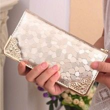 New Fashion Trend Crown Lattice Embroidery Flip Long Purse Money Clip Wallet Wml99 Wallets