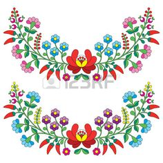 Hungarian Embroidery Stitch etno: Hungarian floral folk pattern - Kalocsai embroidery with flowers and paprika Illustration - Mexican Embroidery, Hungarian Embroidery, Folk Embroidery, Brazilian Embroidery, Learn Embroidery, Flower Embroidery, Hungarian Tattoo, Chain Stitch Embroidery, Embroidery Stitches