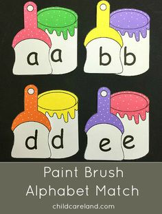 Paint brush alphabet match for letter recognitions and review.