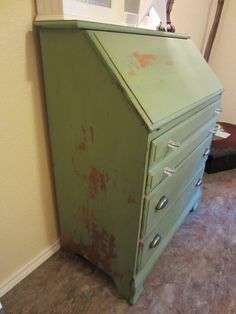 another view of the desk, MMS luckett green milk paint.