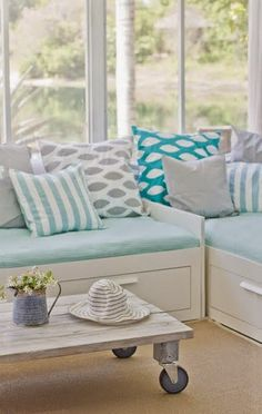 Beach chic modern turquoise white grey decor with turquoise and white throw pillows by Coastal Interior Decor, includes Premier Prints fabric. I'm digging that bright teal/turquoise pillow in the back. I feel a diy project coming on! House Of Turquoise, White Throw Pillows, Beach House Decor, Home Decor, Coastal Decor, Coastal Interior, Coastal Colors, Coastal Living, Home And Deco