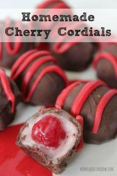 How To Make Homemade Cherry Cordials My husband loves cherry cordials and I am always up for a challenge to recreate his favorite store-bought treats. These homemade cherry cordials are so easy to make and taste delicious! Just Desserts, Dessert Recipes, Baking Desserts, Yummy Treats, Sweet Treats, Cordial Recipe, Chocolate Covered Cherries, Chocolate Covered Treats, Chocolate Cherry