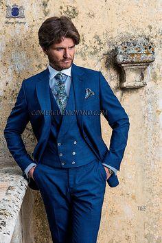 Traje de novio italiano en tejido new performance cuadros azules, con dos botones, modelo 1163 Ottavio Nuccio Gala colección Gentleman.