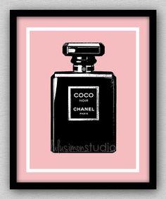 8 x 10 Wall Decor Print, Modern Home Decor, Chanel, Chanel Home Decor, Chanel Art-COCO Noir Perfume Bottle on Etsy, $15.00