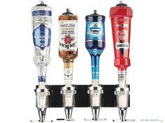 Uchwyt barowy na 4 butelki z dozownikami. Precyzyjne dozowanie ułatwia przygotowanie fantazyjnych koktajli.  #impreza #drinki #zabawa