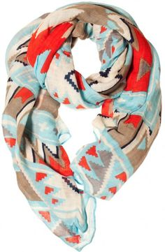 Coral and turquoise tribal scarf