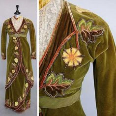Green velvet Directoire-style dress in 1912 style with period applique embroidery. Kerry Taylor Auctions/Invaluable