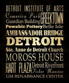 Detroit Michigan Typography Art  Canvas / Bus  / by LegacyHouseArt, etsy