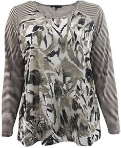 Plus Size Womens Striped Long Sleeves Knit TShirt Fashion Top Multi  Abstract 3X 16018    1a9a410a3