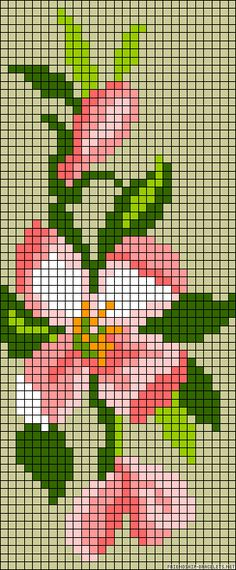 pretty flower pattern / chart for cross stitch, crochet, knitting, knotting, beading, weaving, pixel art, and other crafting projects