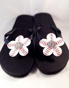9290c53e853cb7 Baseball Flip Flop Rhinestone Baseball Baseball by Sparklesports Bling Flip  Flops