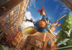 Kiki's Delivery Service (魔女の宅急便) by Miyazaki Hayao (宮崎駿) Kiki Delivery, Kiki's Delivery Service, Pokemon, Studio Ghibli Movies, Howls Moving Castle, Movie Wallpapers, Hayao Miyazaki, Animation Film, Totoro